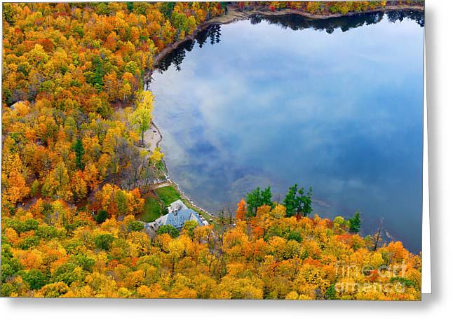 Aerial View Of A Canadian Lake In The Fall Season Greeting Card