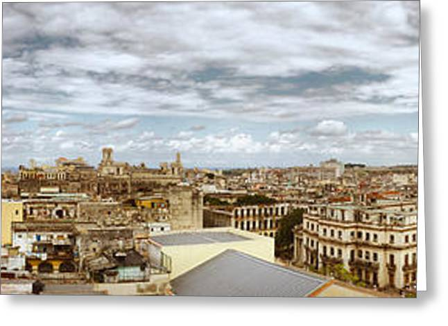 Aerial View Of A City, Havana, Cuba Greeting Card by Panoramic Images