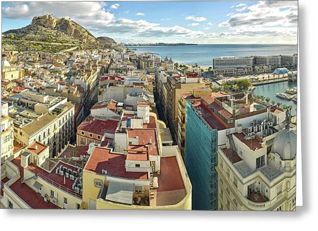 Aerial View Of A City, Old Town, Santa Greeting Card by Panoramic Images