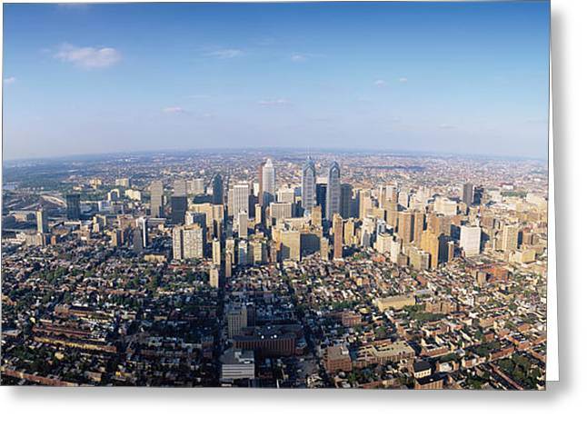 Aerial View Of A City, Philadelphia Greeting Card by Panoramic Images