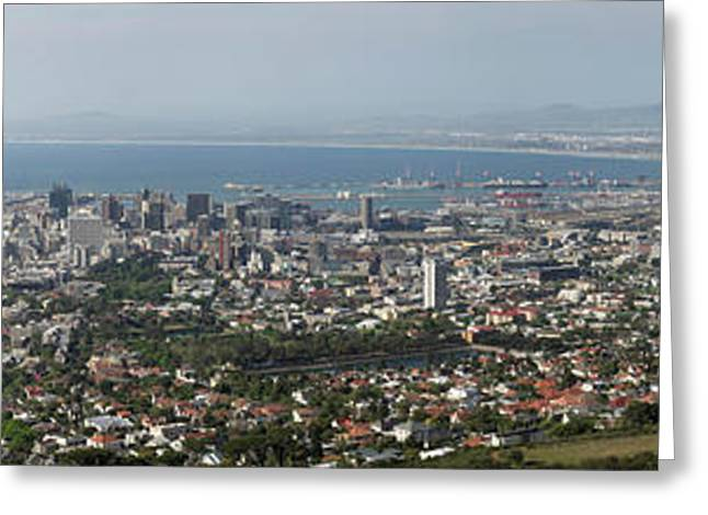 Aerial View Of A City, Table Mountain Greeting Card by Panoramic Images