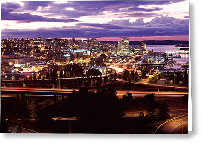 Aerial View Of A City, Tacoma, Pierce Greeting Card by Panoramic Images