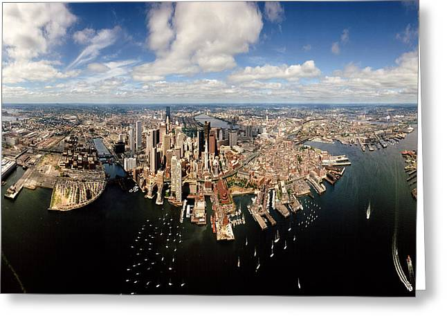 Aerial View Of A Cityscape, Boston Greeting Card by Panoramic Images