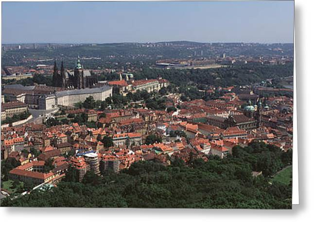 Aerial View Of A Cityscape, Prague Greeting Card