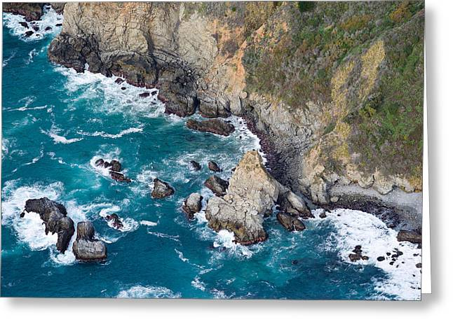 Aerial View Of A Coast, Big Sur Greeting Card