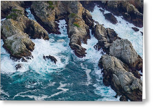 Aerial View Of A Coast, Point Lobos Greeting Card