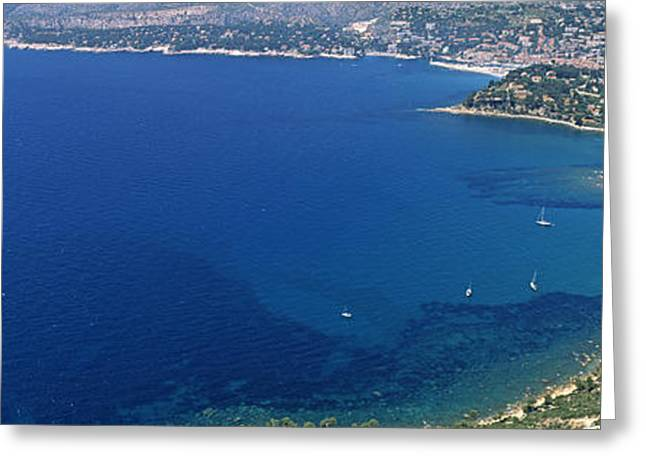 Aerial View Of A Coastline, Cote Dazur Greeting Card by Panoramic Images