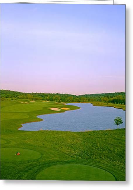 Aerial View Of A Golf Course, Caves Greeting Card