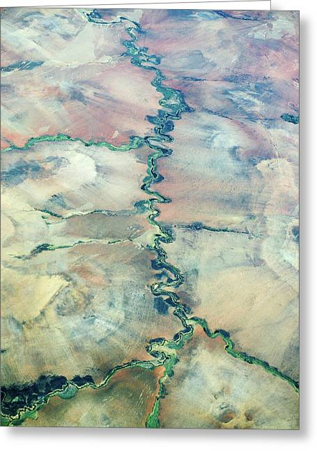 Aerial View Of A River Greeting Card
