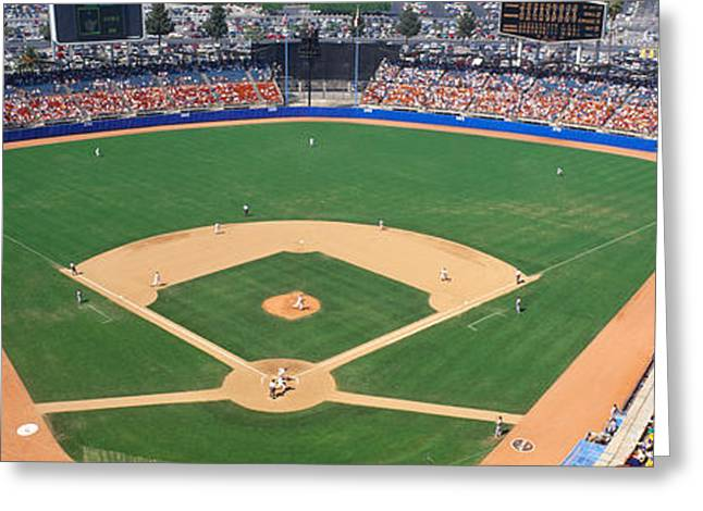 Aerial View Of A Stadium, Dodger Greeting Card by Panoramic Images