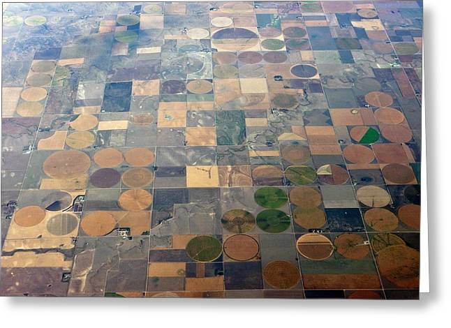 Aerial View Of Agriculture In The Usa Greeting Card by Peter Menzel