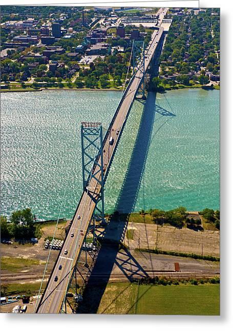 Aerial View Of Ambassador Bridge Greeting Card