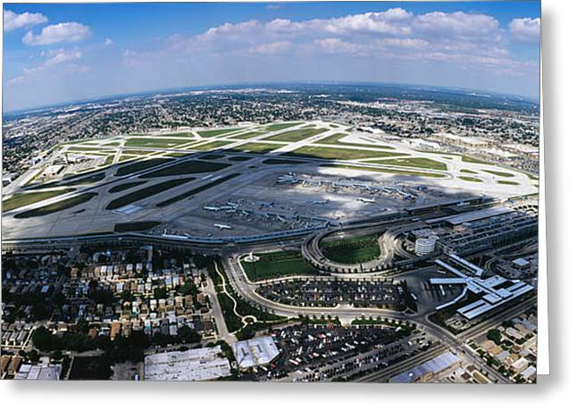 Aerial View Of An Airport, Midway Greeting Card
