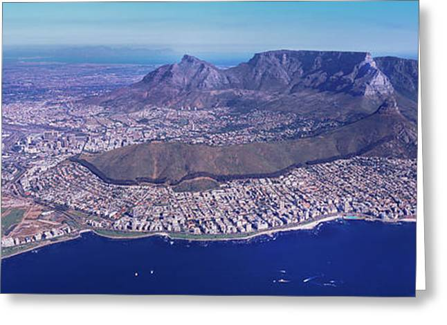 Aerial View Of An Island, Cape Town Greeting Card by Panoramic Images