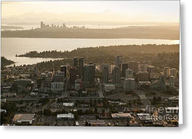 Aerial View Of Bellevue Skyline Greeting Card