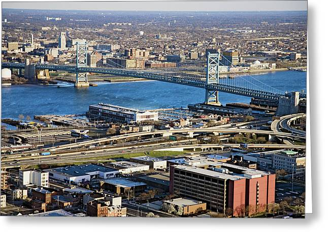 Aerial View Of Ben Franklin Bridge Greeting Card