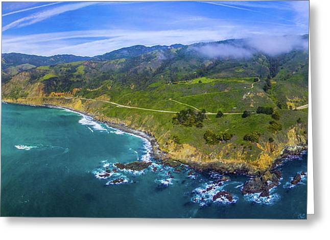 Aerial View Of Big Sur Coastline Greeting Card