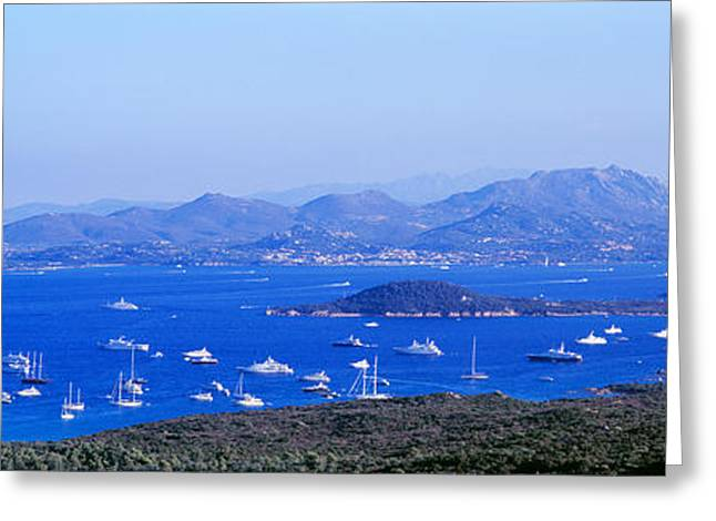 Aerial View Of Boats In The Sea, Costa Greeting Card