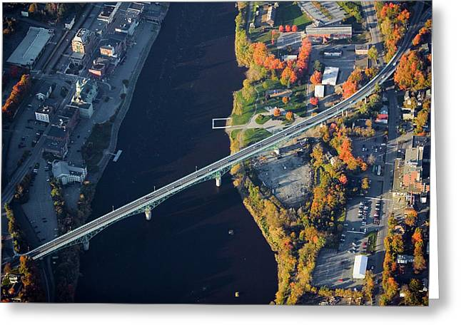 Aerial View Of Bridge To Augusta, Maine Greeting Card