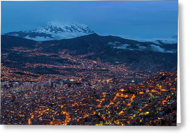 Aerial View Of City At Night, El Alto Greeting Card by Panoramic Images