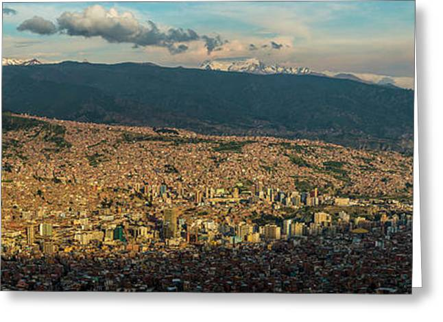 Aerial View Of City, El Alto, La Paz Greeting Card by Panoramic Images