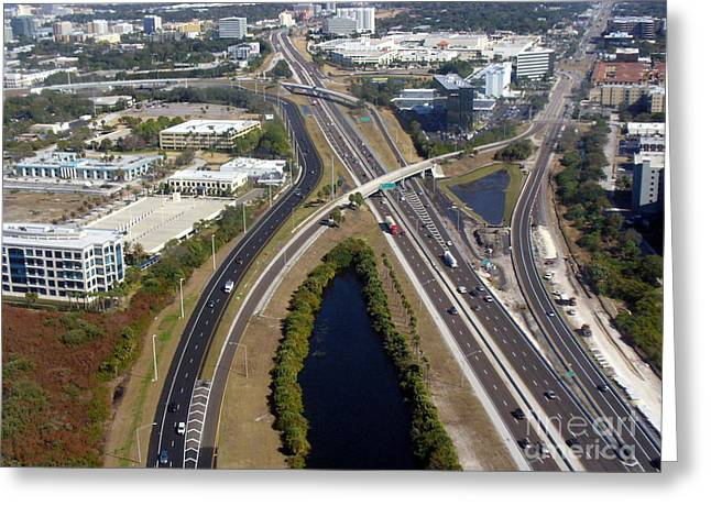 Aerial View Of City Of Tampa Greeting Card by Lingfai Leung