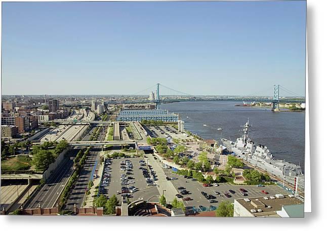 Aerial View Of Delaware River, Benjamin Greeting Card