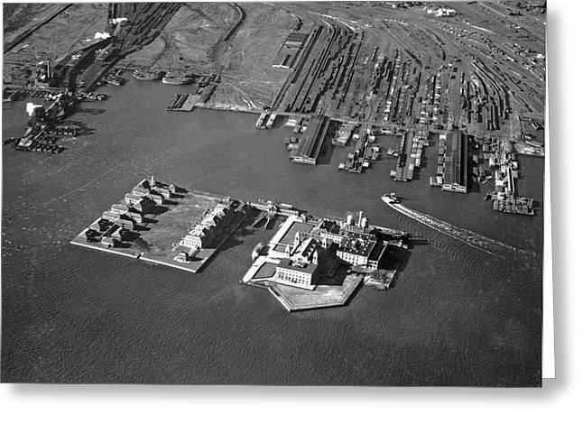 Aerial View Of Ellis Island Greeting Card