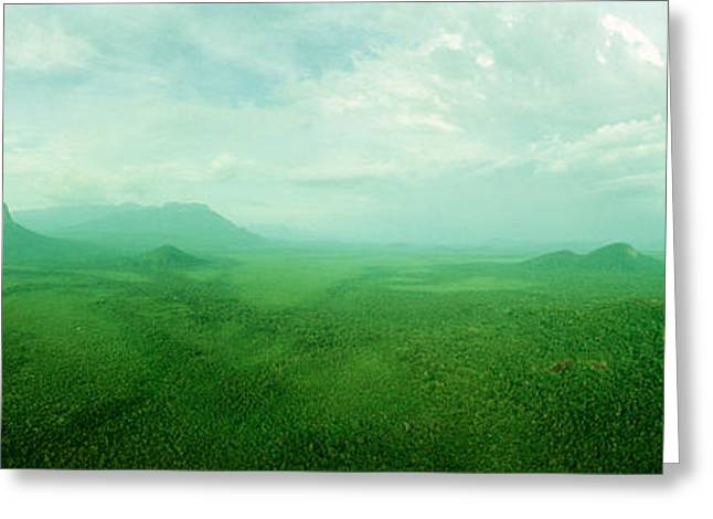Aerial View Of Green Misty Landscape Greeting Card by Panoramic Images
