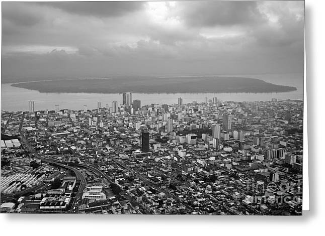 Aerial View Of Guayaquil City Greeting Card by Sami Sarkis