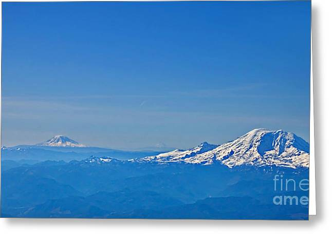 Aerial View Of Mount Rainier Volcano Art Prints Greeting Card
