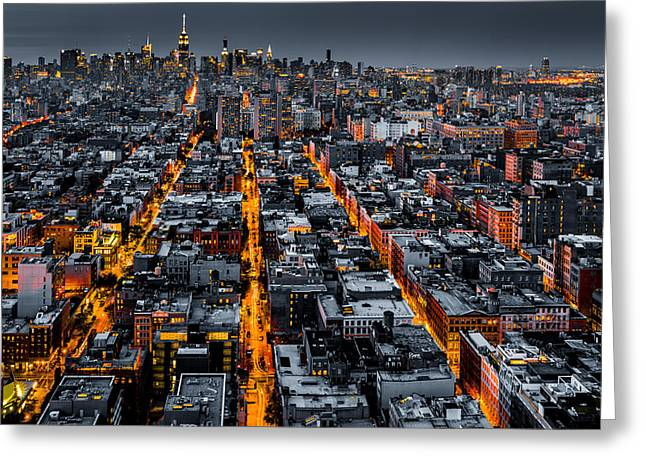 Aerial View Of New York City At Night Greeting Card