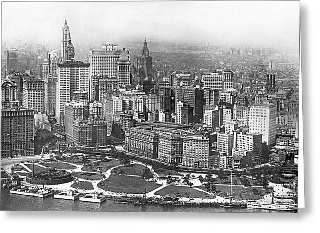 Aerial View Of Nyc Battery Greeting Card by Underwood Archives