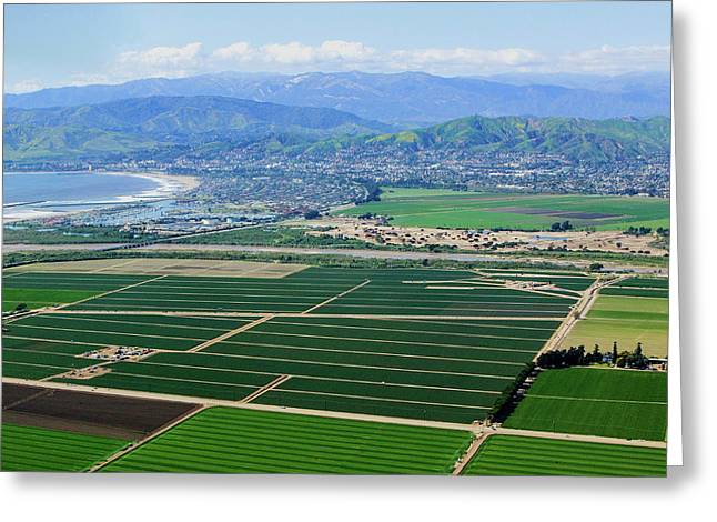 Aerial View Of Oxnard Farm Fields Greeting Card