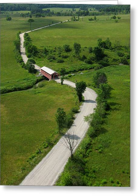 Aerial View Of Red Covered Bridge  Greeting Card by Rob Huntley