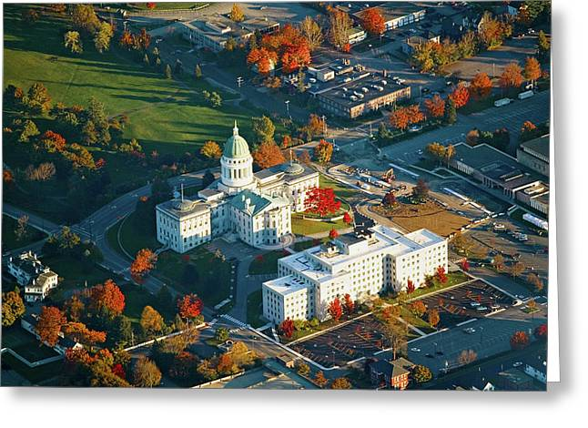 Aerial View Of State Capital Building Greeting Card