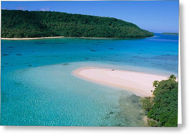 Aerial View Of The Beach, Tonga Greeting Card by Panoramic Images