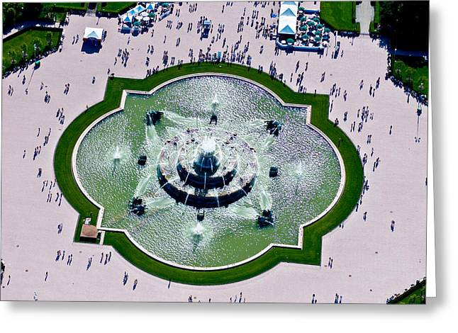Aerial View Of The Buckingham Fountain Greeting Card