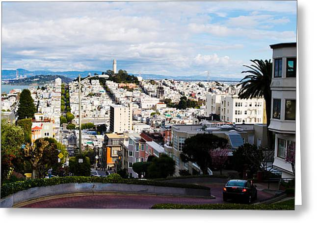 Aerial View Of The Lombard Street, Coit Greeting Card by Panoramic Images