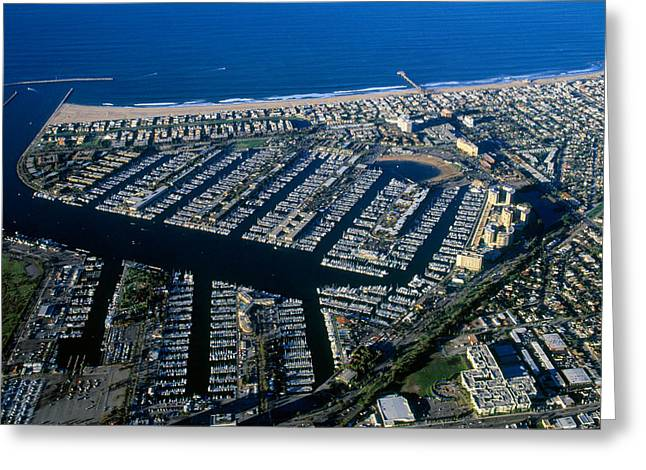 Aerial View Of The Marina Del Rey, Los Greeting Card by Panoramic Images