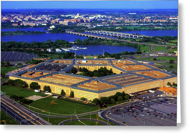 Aerial View Of The Pentagon At Dusk Greeting Card