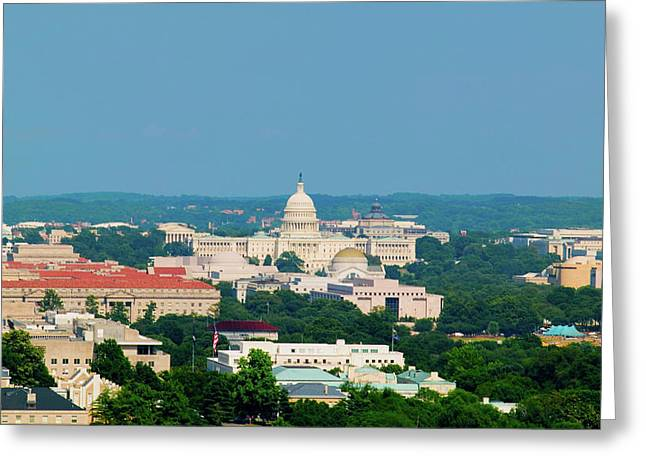 Aerial View Of Us Capitol From Rosslyn Greeting Card