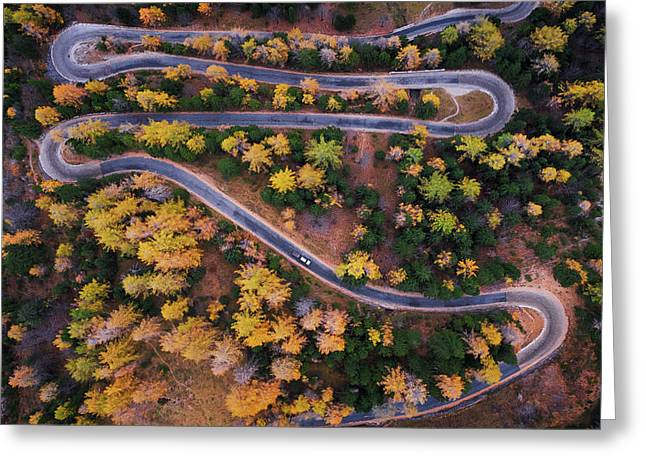 Aerial View Of Vrsic Mountain Pass Greeting Card