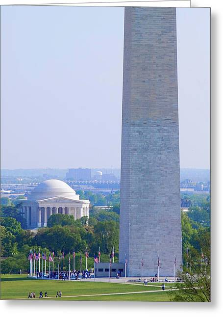 Aerial View Of Washington Monument Greeting Card