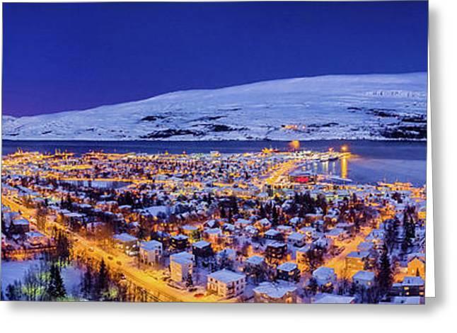 Aerial View - Wintertime In Akureyri Greeting Card