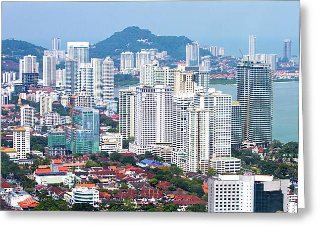 Aerial Views Over The City Of Penang Greeting Card by Micah Wright