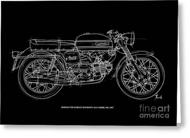 Aermacchi Harley Davidson Ala Verde 250 -1967 Greeting Card by Pablo Franchi