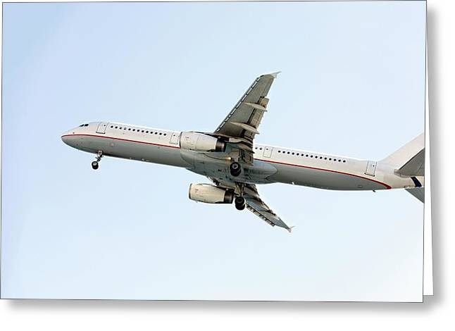Aeroplane In Sky Greeting Card by Wladimir Bulgar