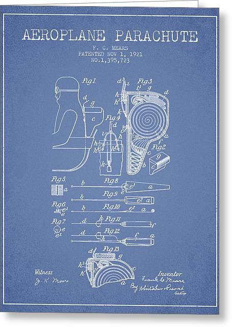 Aeroplane Parachute Patent From 1921 - Light Blue Greeting Card by Aged Pixel
