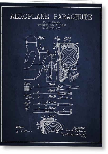 Aeroplane Parachute Patent From 1921 - Navy Blue Greeting Card by Aged Pixel